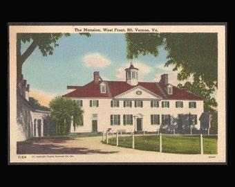 Mount Vernon  Vintage Linen Postcard 1940's  Antique