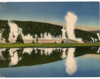Geyser Hill Yellowstone Park Giant Souvenir Scenic Postcard Vintage 1950s