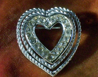 Rhinestone Sweetheart   Brooch Pin Vintage Antique