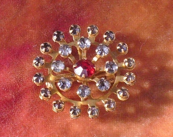 Rhinestone Circlet Clear and Red Brooch Pin Vintage Antique
