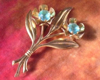 Gold and Turquoise  Floral Spray Brooch Vintage Antique