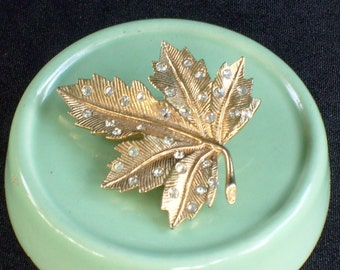 Gold and Rhinestone Leaf Brooch