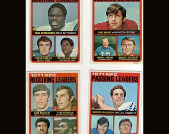 1971 Topps Football 4 Vintage Cards Scoring Leaders Rushing Leaders Passing Leaders and Receiving Leaders