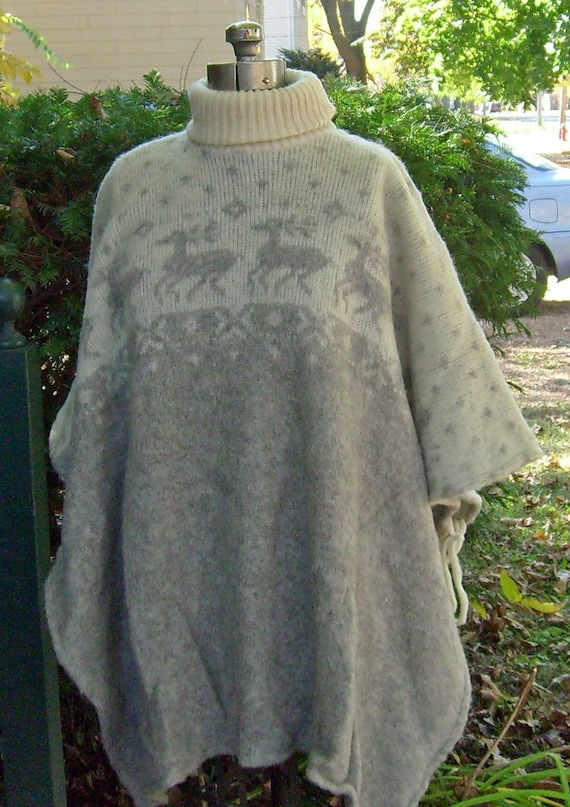 Book Cover Pattern Wool Cashmere Poncho : Icelandic wool hand knitted poncho cape vintage