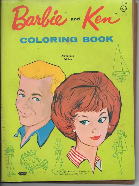 Barbie And Ken Vintage Coloring Book 1962 By AtticEmporium