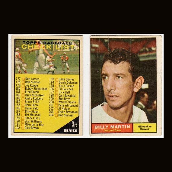 Billy Martin, Bill White, Ron Kline, Gus Bell, Steve Barber 1961 Topps Baseball  Vintage  6 Cards