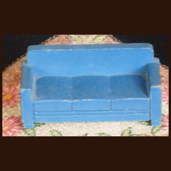 Antique Strombecker Dollhouse Sofa Couch in Blue1930s