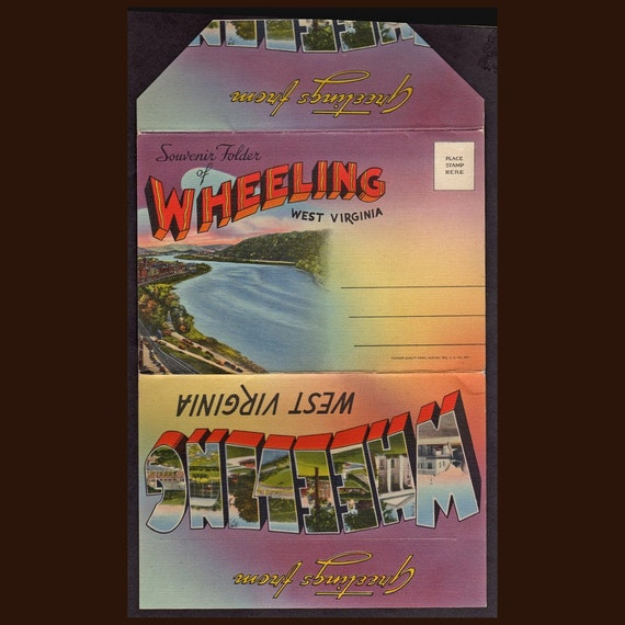 Wheeling West Virginia Scenic Linen Postcard folder Vintage Souvenir