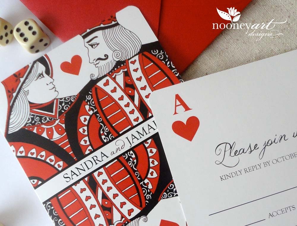 SAMPLE Playing Card Folded Wedding Invitation – Playing Card Invitation