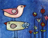 Two Birds || folkloric acrylic and mixed media CANVAS print