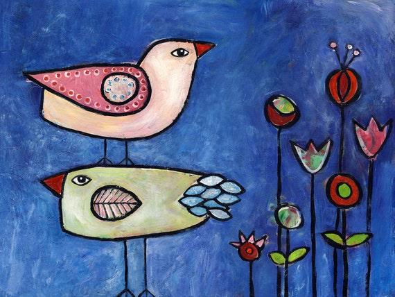 Two Birds - folk modern acrylic and mixed media print