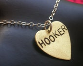 HOOKER--Stamped Heart Necklace--Mixed Metal--Brass