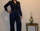 Reserved for YellowVintage1 Liz Claiborne Royal Blue One Piece Suit Tuxedo with Belt  S
