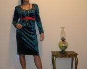 Reserved for YellowVintage1 Vintage Green Velvet  Dress  Size Small- Medium 2-6