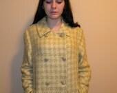 Vintage Light Green Plaid Tweed Wool Double Breasted Coat S,M