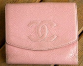 Reserved for Emily Sale Previously 210.00 Vintage Authentic CHANEL Pink Leather Wallet