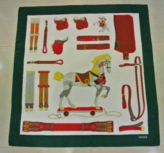 Vintage Authentic Gucci Silk Equestrian Horse Theme Print Scarf