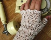 Crocheted fingerless gloves lace fishnet off-white , cotton, size S