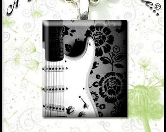 Up Close Black and White Guitar