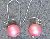Pink Frosted Glass Single earring