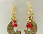Half Moon and Red Crystal earrings, moon earrings, star earrings, red earrings, tv or movie styles, retro earrings, holiday earrings