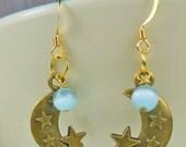 Light Blue Moon and stars earrings - cats eye earrings - twilight - vampires - movies, blue earrings, television earrings
