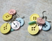 Button Earrings in Pastel colors - small size, button earrings, summer color earrings, dangle earrings, holiday earrings