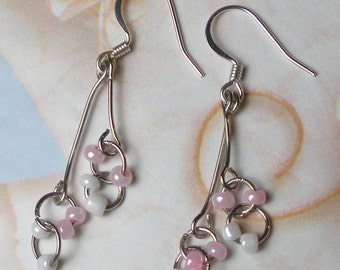 Pink and White Retro hanging earrings from the 60's