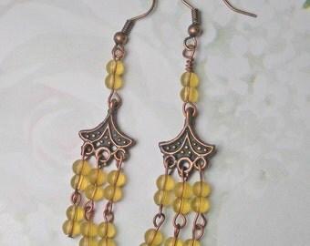 Yellow and Copper Chandeliers earrings, citrine beaded earrings, golden yellow earrings holiday earrings dangle yellow copper