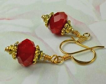 Red Czech crystal single Earring