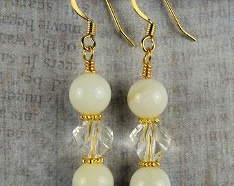 Pearl and Czech Crystal drops earrings