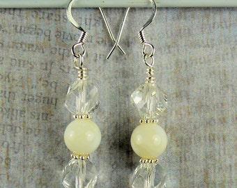 Czech crystal and Pearl Drop earrings