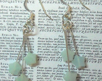 Green triple stars in Amazonite green dangle earrings