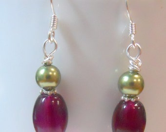 Purple glass and Green swarovski glass pearl earrings