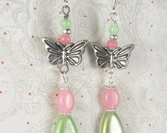 Green and Pink tear Drops with butterfly earrings