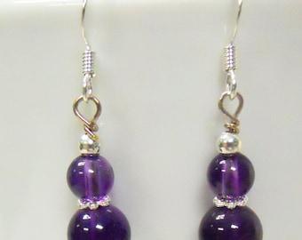 Amethyst double bead dangle earrings, AA grade amethyst, easter earrings, purple earrings, holiday earrings, mother's day, dangle earrings