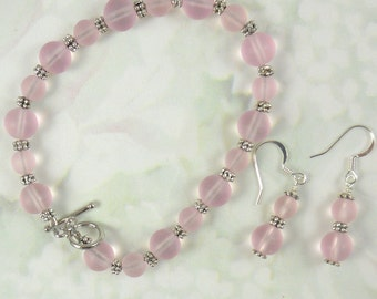 Bracelet and earrings in pink frosted glass Breast Cancer Survivors, holiday earrings, sea glass like frosted beads, pink silver 7.5
