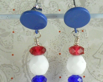 Blue Circles with red, White & Blue beaded earrings