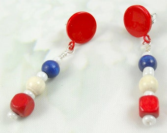 Red Circle with Red, White, Blue bead earring