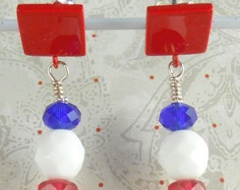 Earrings for the patriotic wearer in red, white and blue