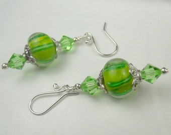 Green Earrings in crystal and glass dangles, swarovski crystal earrings, glass earrings