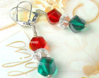 Red Green and  Crystal drop earrings for the Holidays