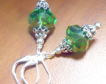 Green Crystal earrings great for birthdays and St. Pattys Day, holiday earrings, green earrings, dangles, czech glass beads
