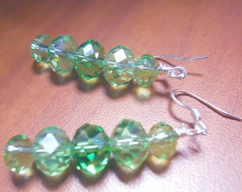Czech faceted greens for Christmas earrings that dangle, August Birthdays, Peridot green