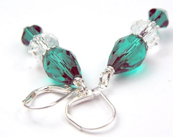 Emerald Green crystal teardrop dangle earrings holiday earrings green earrings christmas earrings st patricks day, may birthday