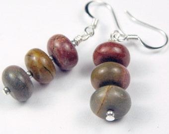 Jasper gemstone rondel earrings, holiday earrings in browns dangle earrings earth colors brown earrings