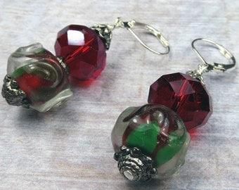 Christmas Delights in red and green beaded earrings, holiday earrings