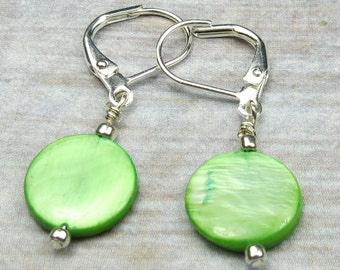 Neon Green Shell Earrngs that are round and dangle shell earrings holiday earrings silver plated leverback ear wires mother of pearl