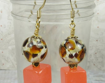 Animal beads and Jade cube earrings with hematite chips