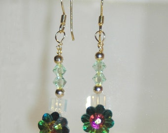 Swarovski Flower dangle Earrings w/peridot and vitral crystals